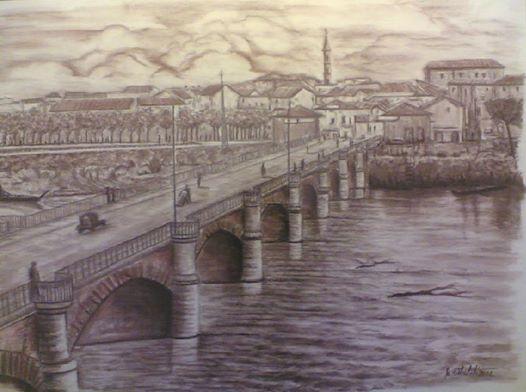 Stampa del Ponte Tanaro e della città di Alessandria