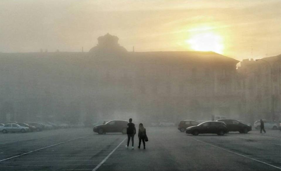 Piazza Garibaldi...e la nebbia alessandrina (foto Guido Boaretto - ottobre 2015)