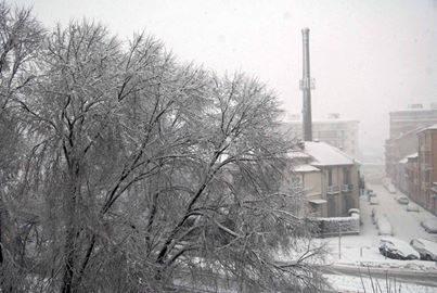 La ciminiera di Borsalino sotto la neve