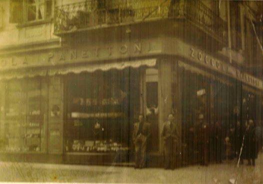 Pasticceria Zoccola anni '40, prima dell'attuale posizione era situata in via Mazzini angolo via Savonarola.