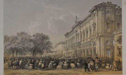 Arrivo dell'Imperatore Napoleone III ad Alessandria. Stampa del 1859.