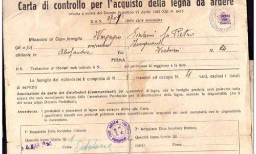 CARTA di CONTROLLO PER L´ ACQUISTO DELLA LEGNA DA ARDERE DA DECRETO DEL 1943