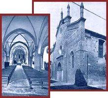 Eretta in forme gotiche verso la metà del Trecento dai PP. Carmelitani, fu ampliata nel 1466 e i lavori di sistemazione si protrassero fino al pieno Cinquecento.  Nel 1745 al tempo della guerra di Successione Austriaca, la chiesa fu ridotta ad ospedale militare e subì gravi manomissioni, al principio del 1800 fu adibita a sede della Guardia Nazionale dal Governo napoleonico.  Nel 1865 iniziò una fase di ristrutturazione che durò fino al 1954.