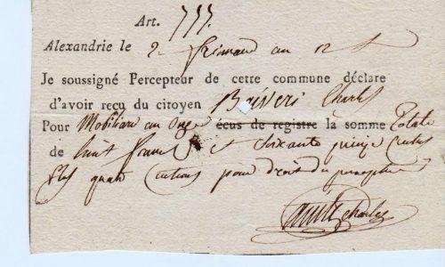 RICEVUTA BIGLIETTI AUTOGRAFI NAPOLEONE 1806 – 1810 ALESSANDRIA.