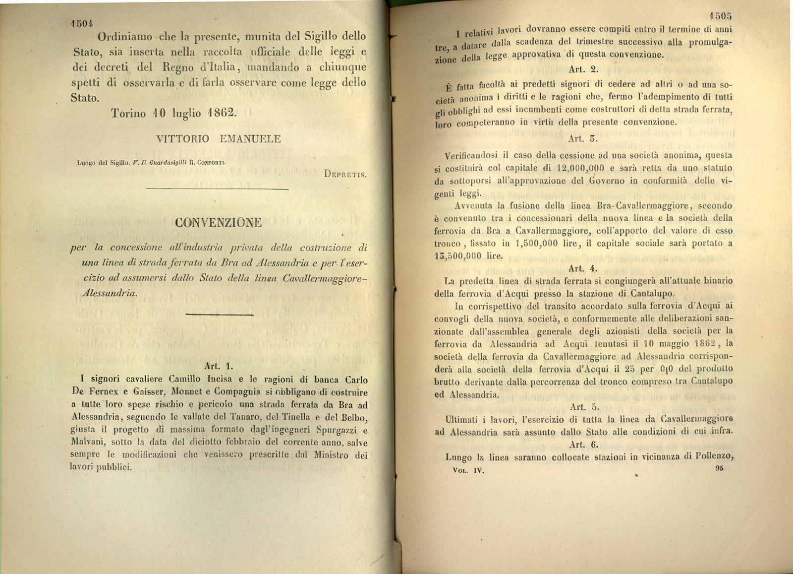 1862 LEGGE COSTRUZIONE STRADA FERRATA DA CAVALLERMAGGIORE A ALESSANDRIA 2