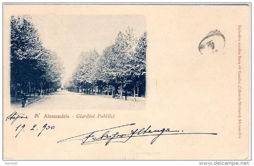 1900 - cartolina Alessandria giardini pubblici