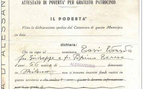 Attestato di povertà per gratuito patrocinio 1937.