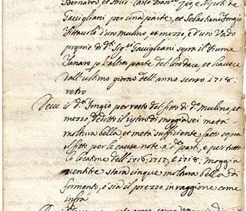 ALESSANDRIA 1719… stipula di contratto di affitto x un (mulino natante) sul fiume tanaro… zona orti..
