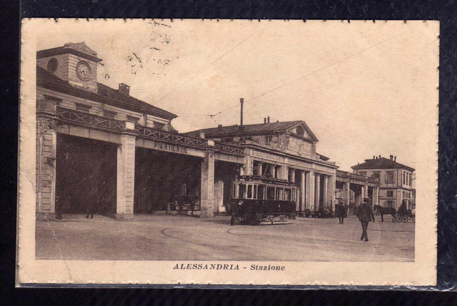 Cartolina Alessandria Stazione TRAM
