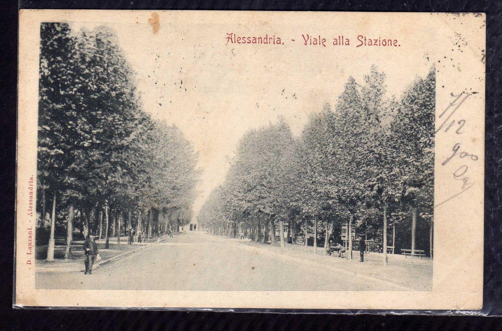 Cartolina Alessandria Viale della Stazione