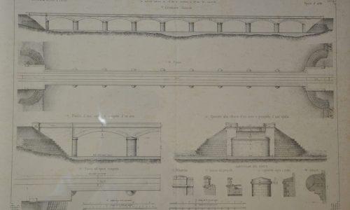 Dal giornale del Genio Civile – Progetto del ponte sul torrente Bormida Presso Alessandria – (elevazione generale, pianta, sezioni trasversali, particolari costruttivi) – 1864