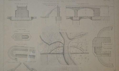 Dal giornale del Genio Civile – Progetto del ponte sul torrente Bormida Presso Alessandria (piante, sezione trasversale e longitudinale) – 1864