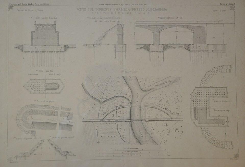 Dal giornale del Genio Civile - Progetto del ponte sul torrente Bormida Presso Alessandria (piante, sezione trasversale e longitudinale) - 1864