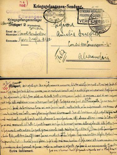 POW CAMPO PRIGIONIERI WWI OFLAG ELLWANGEN GERMANIA 1918 x ALESSANDRIA.