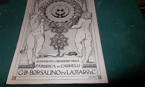 PUBBLICITA ANNI 20, FABBRICA DI CAPPELLI G.B. BORSALINO FU LAZZARO, ALESSANDRIA
