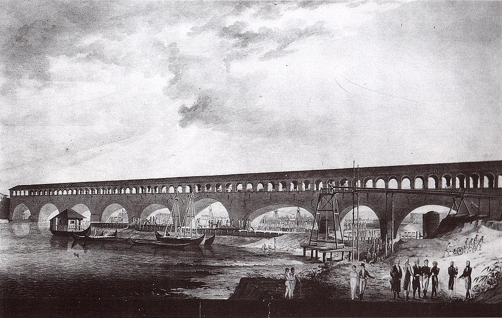 Veduta dell'antico ponte in pietra coperto, XIX secolo