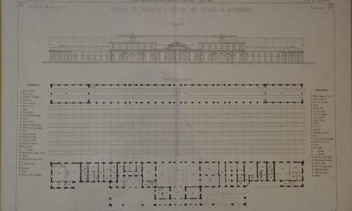 Prospetto e pianta della stazione dei viaggiatori della stazione ferroviaria di Alessandria-Genio Civile 1864