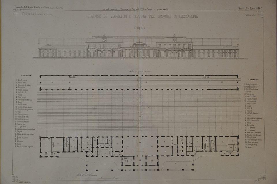 Prospetto e pianta della stazione dei viaggiatori della stazione ferrroviaria di Alessandria-Genio Civile 1864
