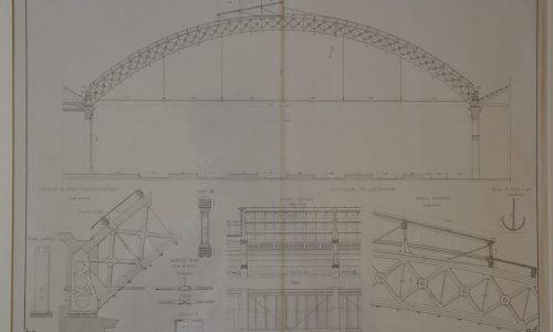 Sezione della tettoia di sosta dei convogli della stazione ferroviaria di Alessandria-Genio Civile 1864