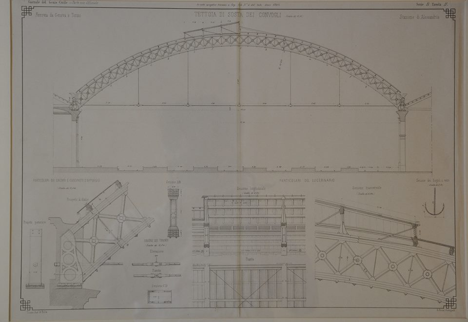 Sezione della tettoia di sosta dei convogli della stazione ferrroviaria di Alessandria-Genio Civile 1864