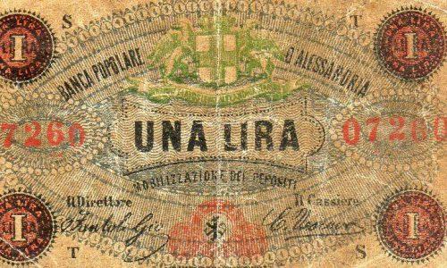 UNA LIRA BANCA POPOLARE DI ALESSANDRIA 1870