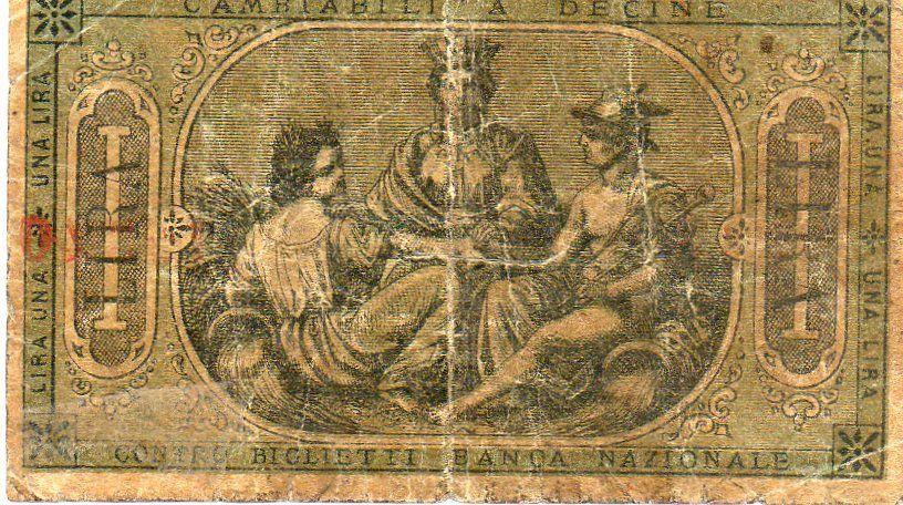 UNA LIRA BANCA POPOLARE DI ALESSANDRIA 1870 - retro