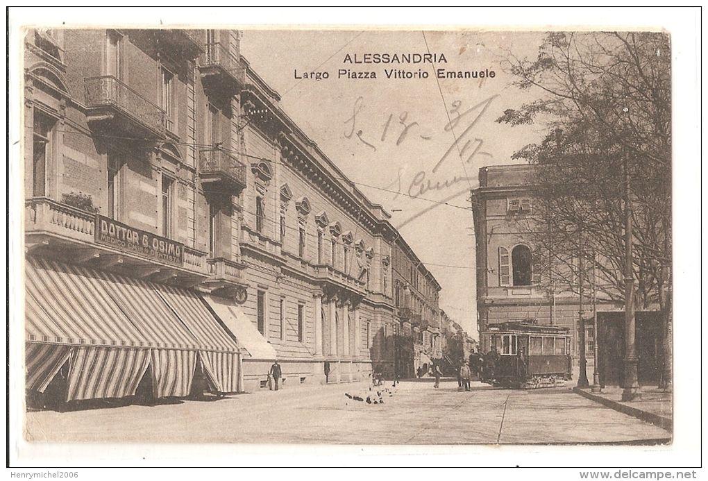 alessandria - largo piazza vittorio emanuele en 1917, tram tramway