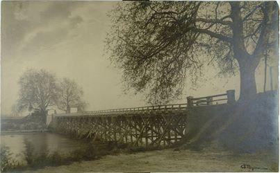 Fondo Storico Locale: Foto G.B Mignone Ponte in legno sul Bormida, stampa ai sali d'argento,83x51 cm, 1900 circa (Fototeca civica, Alessandria)