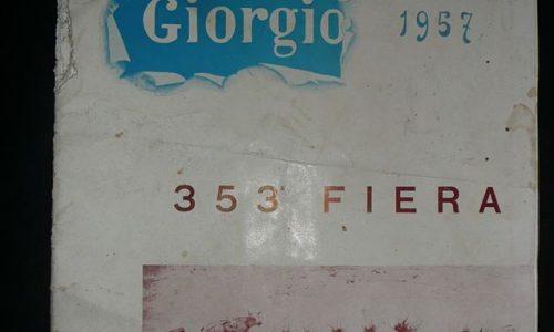 Fascicolo originale del 1957 riguardante la fiera di SAN GIORGIO