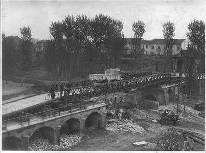 Lavori di ricostruzione del ponte di accesso alla Porta Reale della Cittadella – 1945-46