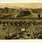 Vecchio ponte coperto sul fiume Tanaro (Stampa)