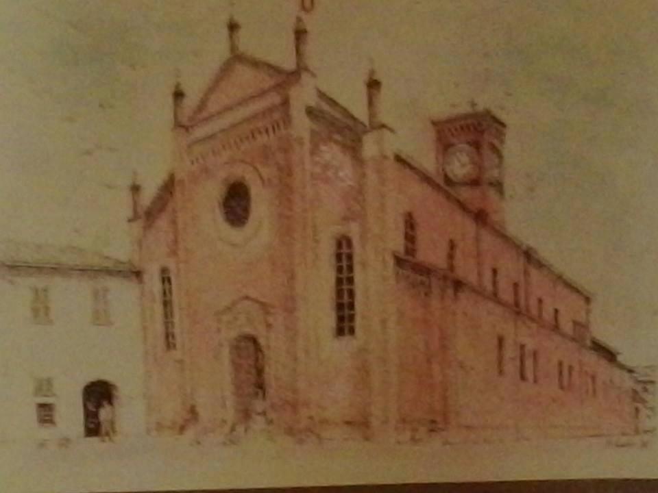 La chiesa di S. Maria di Castello in un disegno di Carlo Poggio