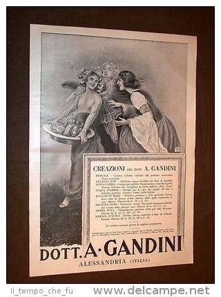 Pubblicità d'epoca dei primi del '900 Prodotti Gandini di Alessandria.
