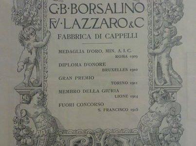 Pubblicità G.B. Borsalino fu Lazzaro – Fabbrica di cappelli