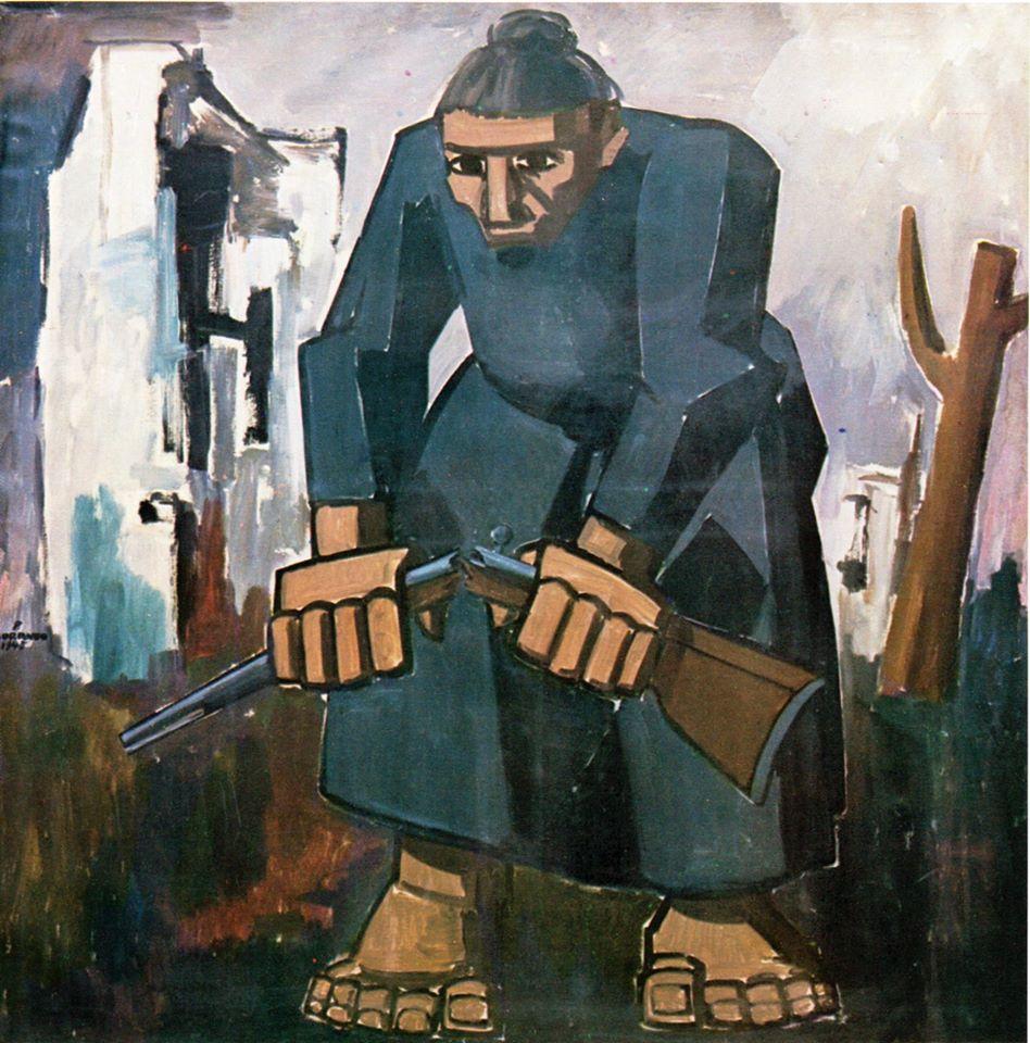 Pietro Morando - La radice del male (1915/18) Nulla mi sembra più metaforico di questo quadro di Pietro Morando: una figura umana, una donna, dotata di grande forza e vigore spezza la radice del male, un fucile.