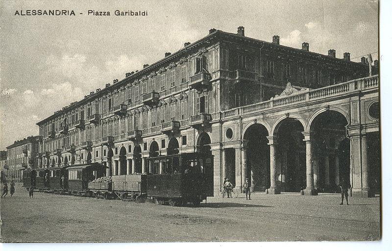 Alessandria - Il tram a vapore in piazza Garibaldi - Anno 1905 circa - Collezione Tony Frisina - Alessandria