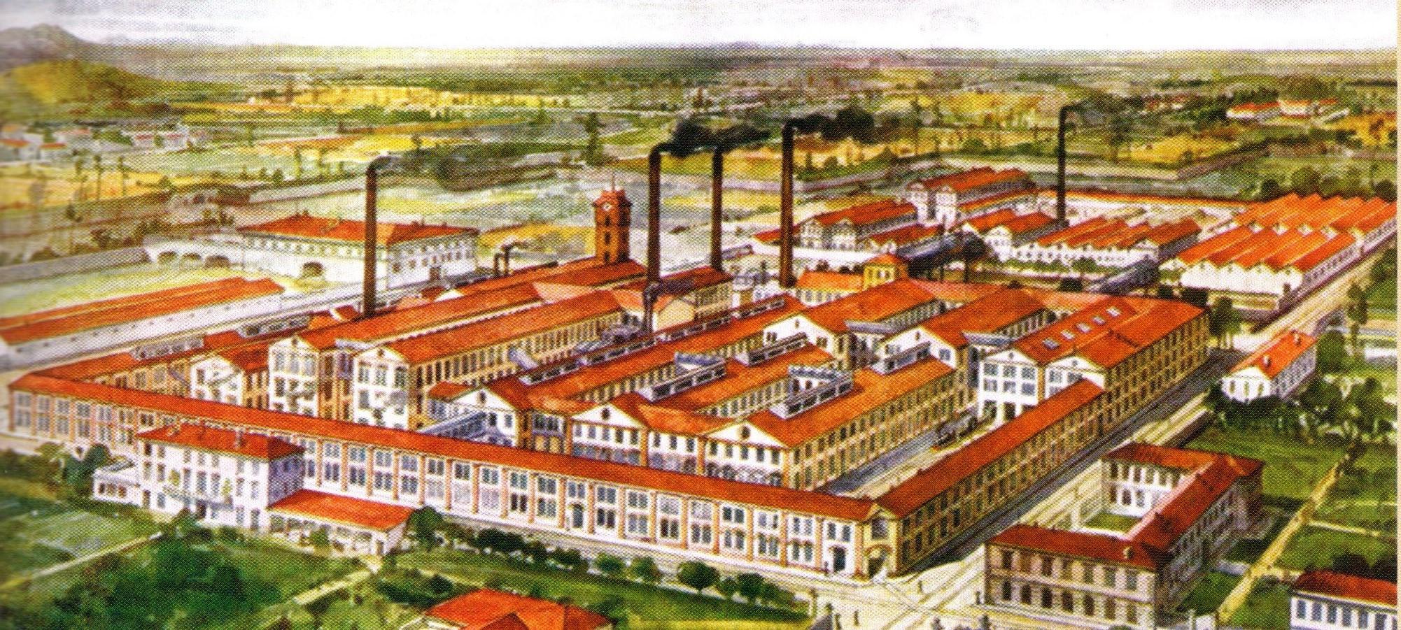 La fabbrica Borsalino in una tavola illustrativa dell'album realizzato per l'Esposizione Universale nel 1910.
