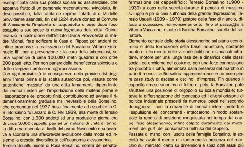 Borsalino: elemento centrale della nostra storia, per decenni emblema del costume e della città.