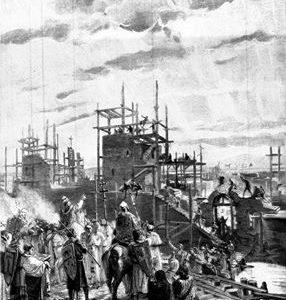 Rara stampa ottocentesca della fondazione di Alessandria.