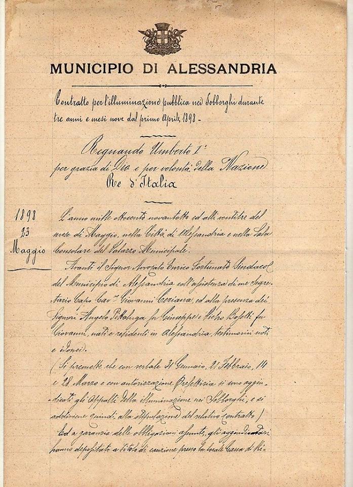 ALESSANDRIA-ILLUMINAZIONE PUBBLICA NEI SOBBORGHI-1898