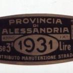 1931 rarissimo BOLLO tassa di circolazione PROVINCIA DI ALESSANDRIA – FASCISMO