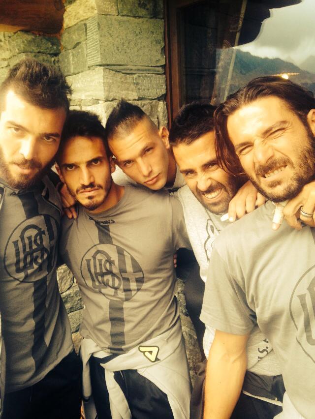 Alcuni giocatori dell'Alessandria Calcio 2014-15: da sinistra a destra: Mora, Spighi, Scotto, Taddei e Morga.