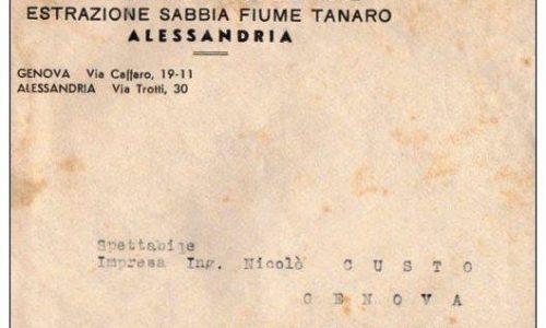 RARA-BUSTA POSTALE PUBBLICITARIA –ALESSANDRIA-DITTA PRONZATO & FLORE-ESTRAZIONE SABBIA FIUME TANARO.