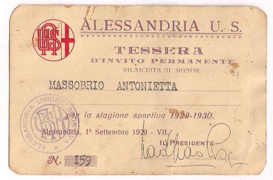U.S. Alessandria 1929-30: abbonamento allo stadio