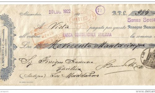 Alessandria 20 luglio 1922 – assegno bancario 985 lire a Benedetti & C.