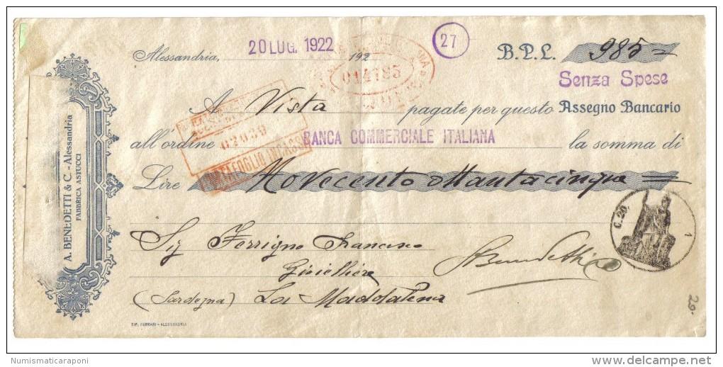 alessandria 20 luglio 1922 assegno bancario 985 lire a. benedetti & c. doc.018