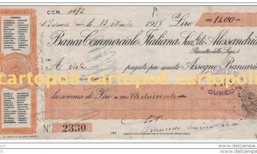 Alessandria – 1917 – BANCA COMMERCIALE ITALIANA – ASSEGNO BANCARIO