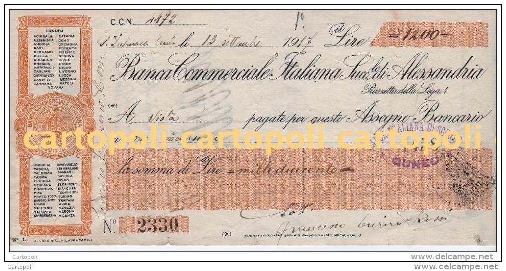 1917 BANCA COMMERCIALE ITALIANA ALESSANDRIA ASSEGNO BANCARIO