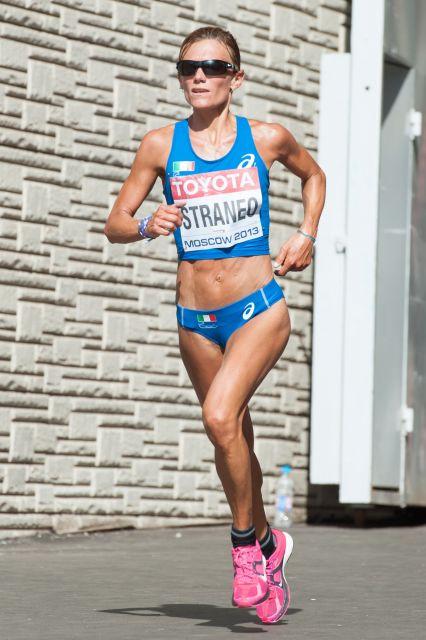 Valeria Straneo durante la maratone di Mosca 2013