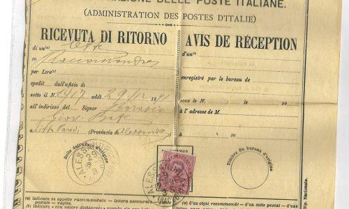 1891 – ALESSANDRIA RICEVUTA DI RITORNO.